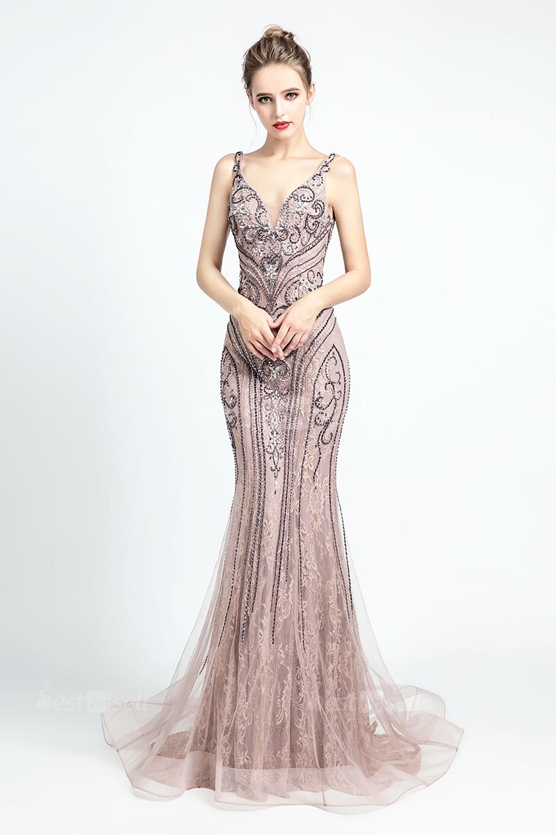 Pastel Pink Elegant High Neck Sleeveless Zip up Sweep Train Beaded Evening Dresses