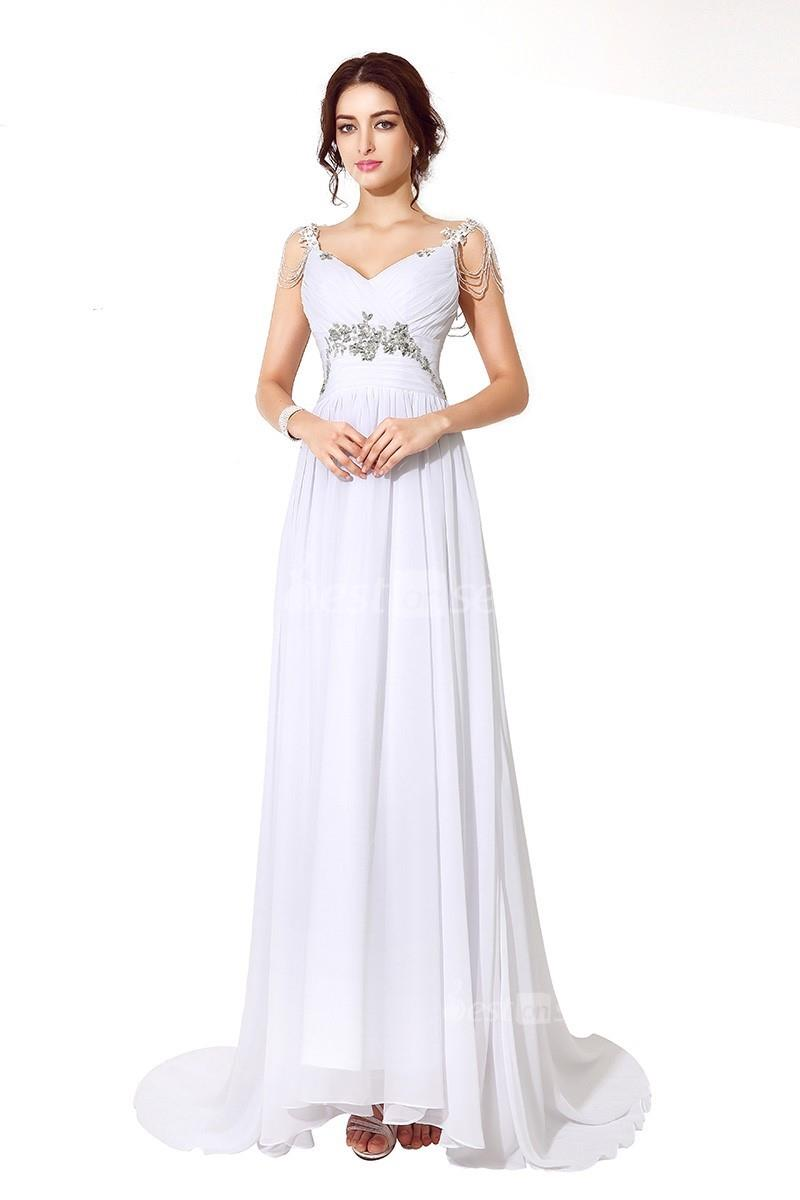 d6020da1f6 Elegant High Neck Sleeveless Zip up Sweep Train Beaded Evening Dresses